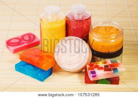 Set for spa. Handmade soap. salt and foam bath