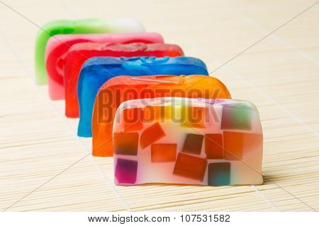 Beautiful set of many different handmade soap.