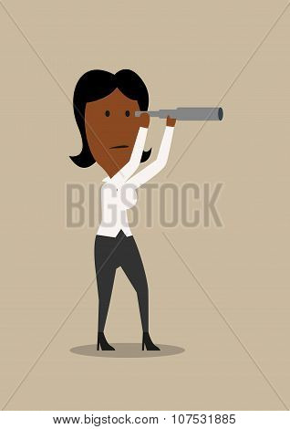 Cartoon businesswoman looking into spyglass