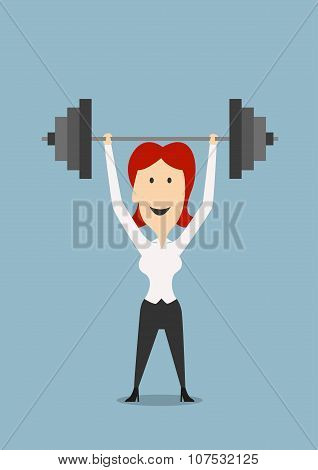 Businesswoman holding dumbbell above head