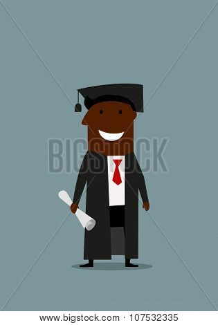 Happy man in graduation gown with diploma