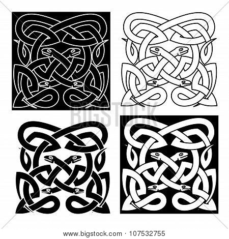 Celtic knot pattern of tribal snakes interlacement