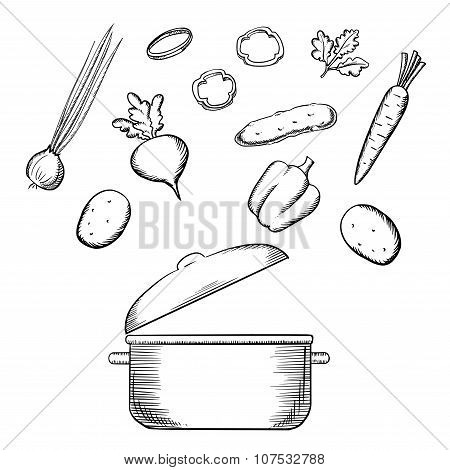Cooking process with dish and vegetables