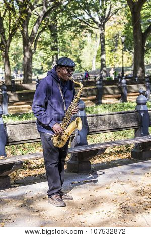 Man Plays Saxophone In The Central Park In New York