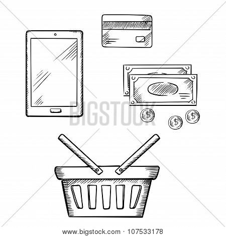 Shopping icons with tablet, money and credit card