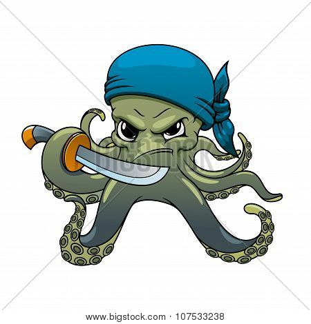 Angry cartoon octopus pirate with sword