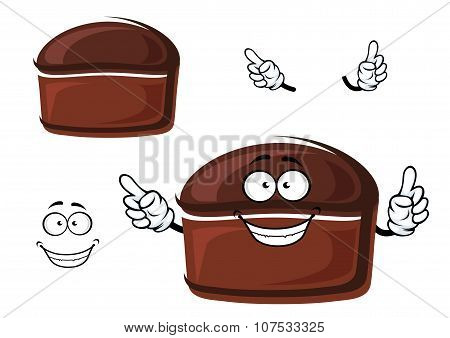 Cartoon brown homemade rye bread character