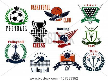 Sport games icons and heraldic emblems