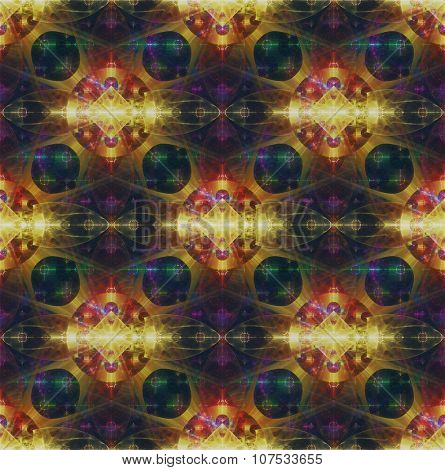 Beautiful abstract fractal pattern in glowing gold, green, red and purple