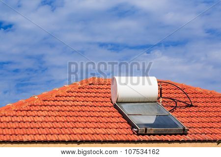 Solar Heating System On The Tile Roof