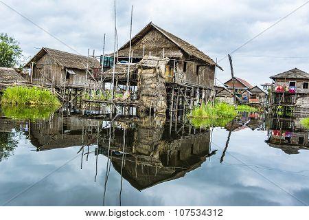 Floating Village At Inle Lake, Shan State, Myanmar