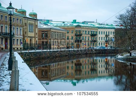 Water Canal In Gothenburg In Winter, Sweden