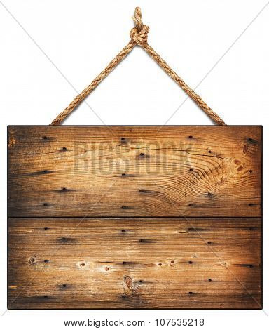 Wooden sign hanging on a rope. isolated on white.