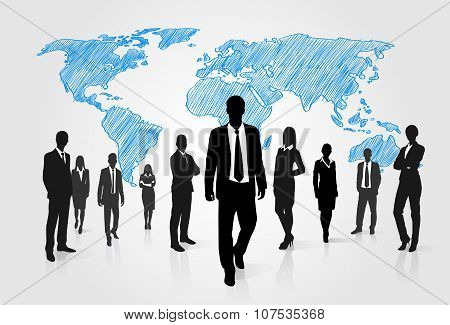 Business People Group Silhouette Over World Global Map
