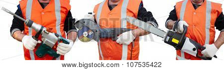 Mature Contractor, Perforator And Angle Grinder
