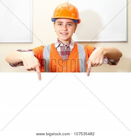 Young Contractor Shows Gesture In The Office