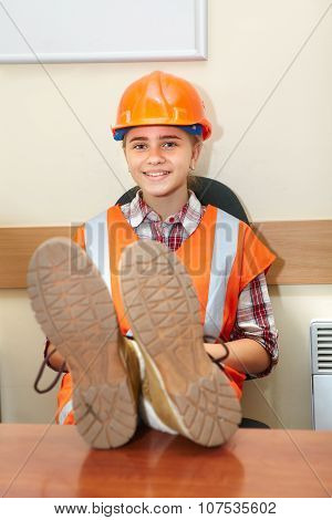 Young Contractor Relaxing In The Office