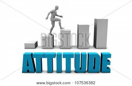 Attitude 3D Concept  in Blue with Bar Chart Graph