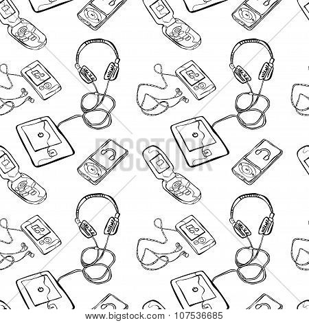 Gadgets: cell phone, electronic book, headphones. Vector seamless illustration (background).