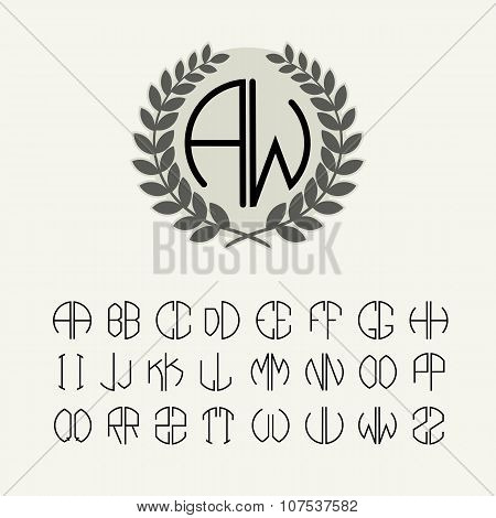 Set of templates for creating letters monogram wreath of two letters in the range described in the A
