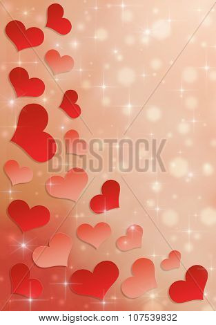 Beautiful red hearts with stardust, hexagons and sparkles.