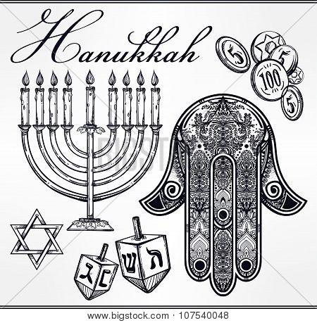 Hanukkah celebration elements set.