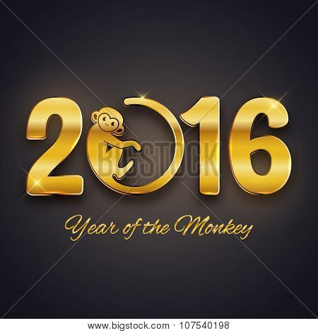 New Year Postcard Design, Gold Text With Monkey Symbol On Dark Background, Year Of The Monkey 2016 D
