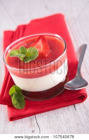 chocolate mousse and strawberry dessert