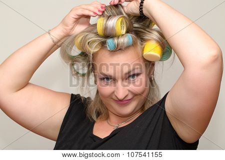Woman With Curler