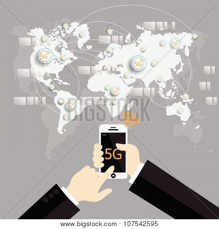 Hand Holding White Smartphone Connected Browsing Internet Worldwide World Map Background