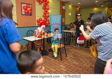 Zhongshan Guangdong-nov 7: Ronald Mcdonalds Character Having Party With Fans On November 7, 2015 In