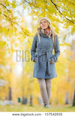 Yound Woman Wandering In Park