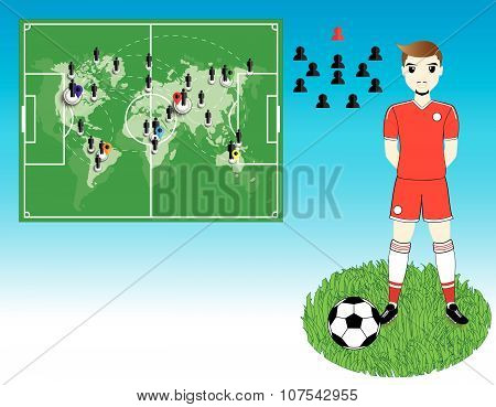 Soccer Player With World Map