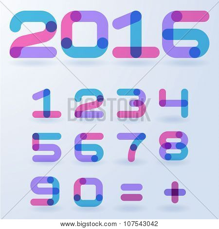 Vector abstract transparent numbers