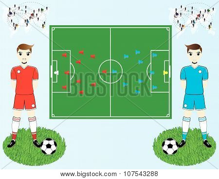Vector Soccer Field And Players