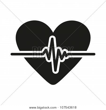 The heart icon. Cardiology and cardiogram, ecg, cardio symbol. Flat