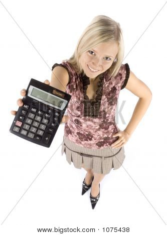 Headshot Of Young Blonde Woman With Calculator