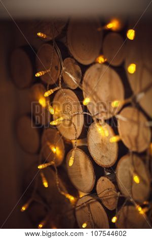 Old Style, White And Wood Background, Christmas Decoration