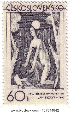 Czechoslovakia - Circa 1971: A Stamp Printed In Czechoslovakia, Shows Moon And Woman Searching For L