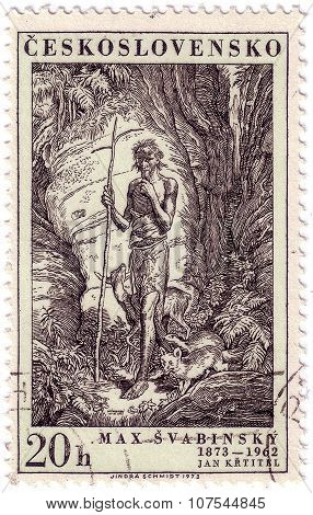 Czechoslovakia - Circa 1973: A Stamp Printed In Czechoslovakia, Shows St. John, The Baptist, By Max