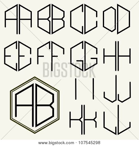 Set 1 template letters to create monograms of two letters inscribed in a hexagon in Art Nouveau styl