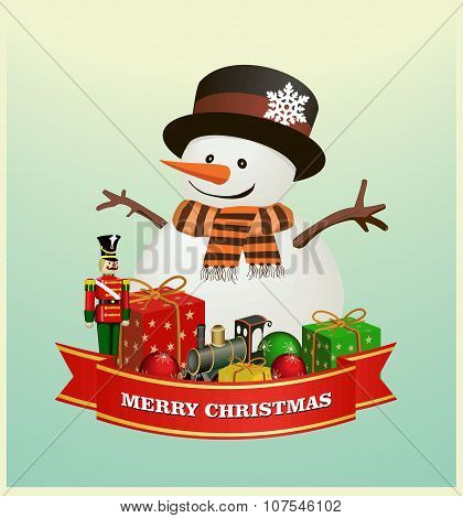 Merry Christmas and happy new year ribbon banner  with  snowman with gift boxes ,  Wooden soldier ,n