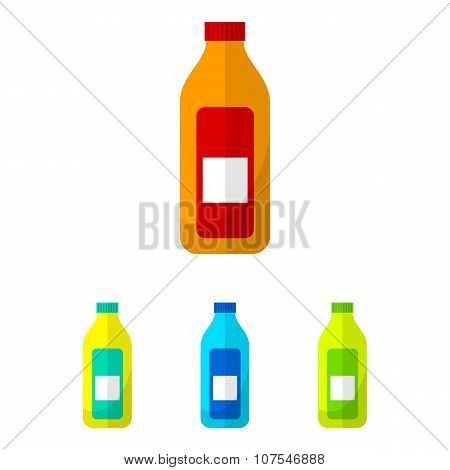 Bottle flat icons set. Bottle icons vector. Bottle icons illustration. Bottle icons isolated. Bottle icons art. Bottle icons pictures
