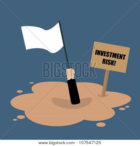 Businessman Holds White Flag Sinking In A Quicksand