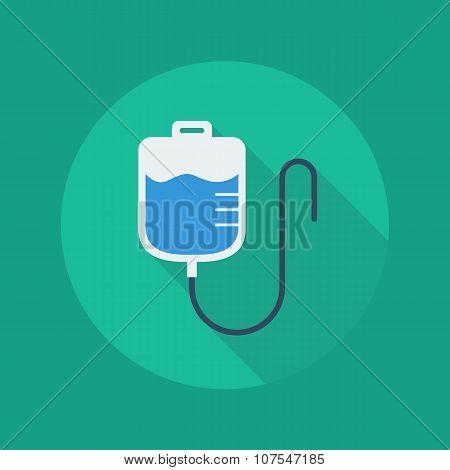 Medical Flat Icon. Saline Bag