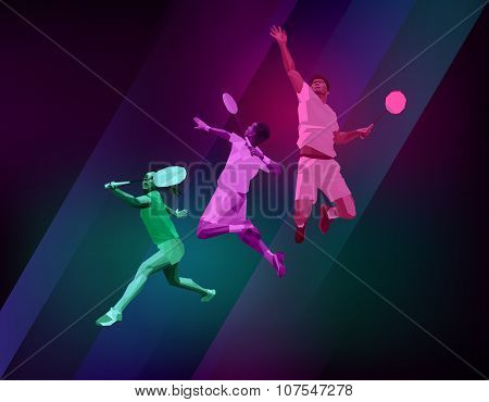 Sports Poster With Badminton Players