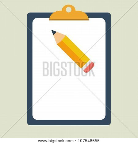 Clipboard. Pencil