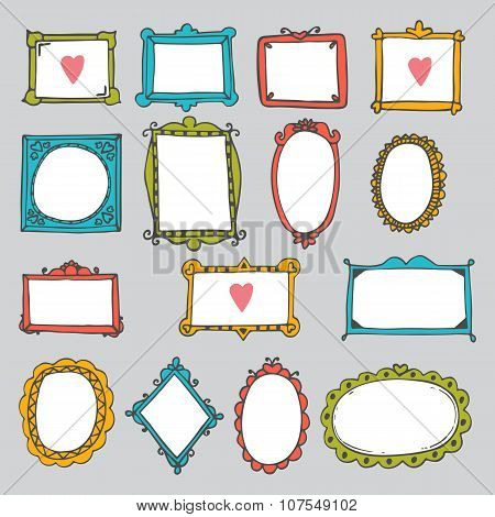 Set Of Hand Drawn Frames. Cute Design Elements. Sketchy Ornamental Frames And Borders