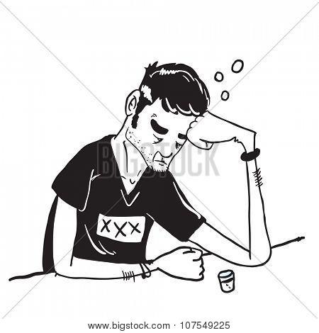 simple black and white sad man drinking cartoon