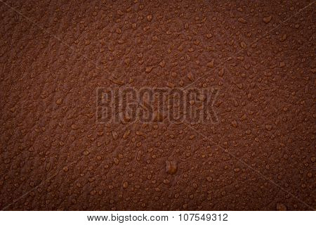 Brown Leather With Water Droplets